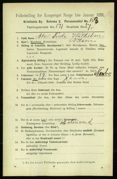 Image from object titled Folketelling 1891 - Kristiania - personsedler - side 101395