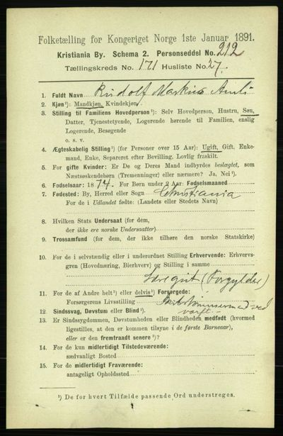 Image from object titled Folketelling 1891 - Kristiania - personsedler - side 101449