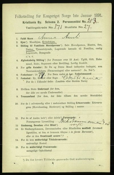 Image from object titled Folketelling 1891 - Kristiania - personsedler - side 101450