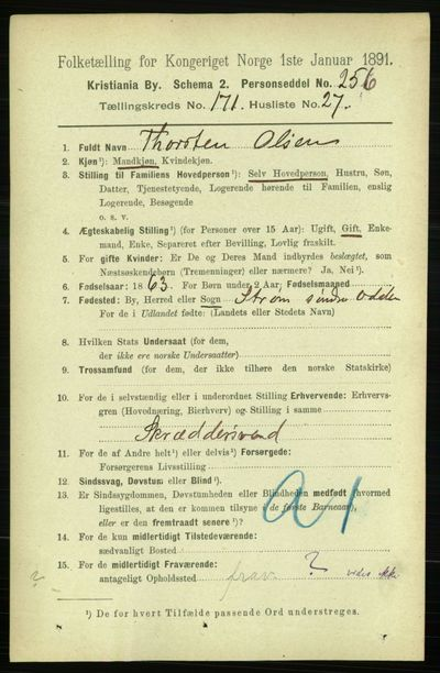 Image from object titled Folketelling 1891 - Kristiania - personsedler - side 101493