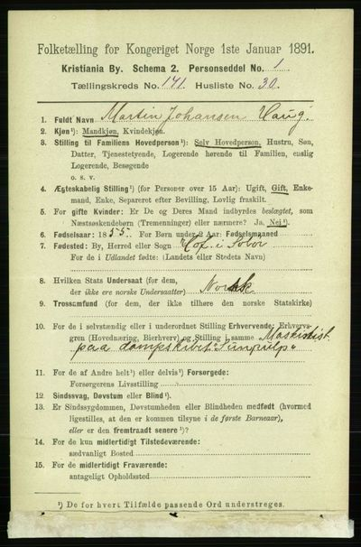 Image from object titled Folketelling 1891 - Kristiania - personsedler - side 101501