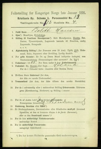 Image from object titled Folketelling 1891 - Kristiania - personsedler - side 101937