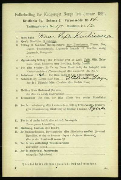 Image from object titled Folketelling 1891 - Kristiania - personsedler - side 102269