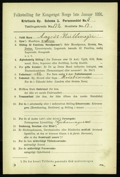 Image from object titled Folketelling 1891 - Kristiania - personsedler - side 102405