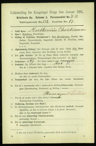 Image from object titled Folketelling 1891 - Kristiania - personsedler - side 102433
