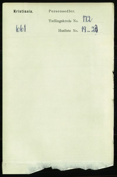 Image from object titled Folketelling 1891 - Kristiania - personsedler - side 102453