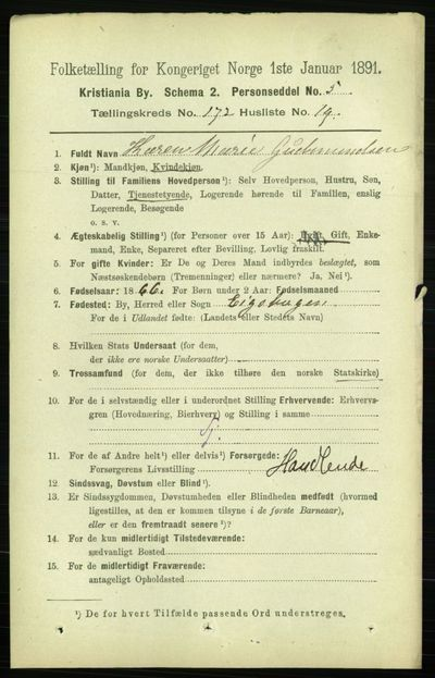 Image from object titled Folketelling 1891 - Kristiania - personsedler - side 102458