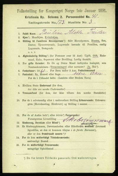 Image from object titled Folketelling 1891 - Kristiania - personsedler - side 102907