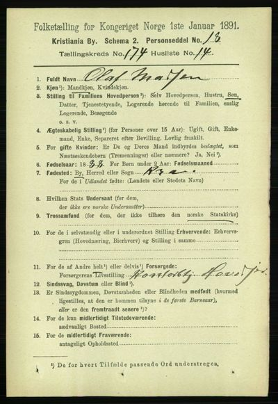 Image from object titled Folketelling 1891 - Kristiania - personsedler - side 104194