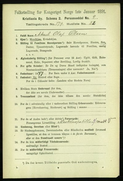 Image from object titled Folketelling 1891 - Kristiania - personsedler - side 104394