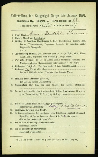 Image from object titled Folketelling 1891 - Kristiania - personsedler - side 104630