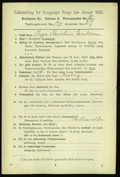 Image from object titled Folketelling 1891 - Kristiania - personsedler - side 104684