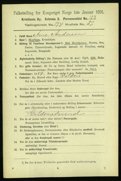 Image from object titled Folketelling 1891 - Kristiania - personsedler - side 104695
