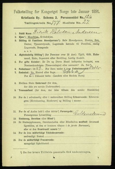 Image from object titled Folketelling 1891 - Kristiania - personsedler - side 104698