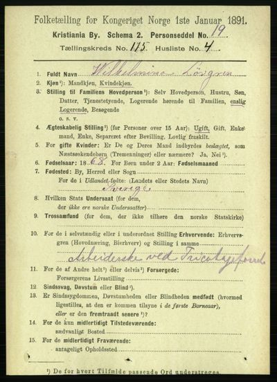Image from object titled Folketelling 1891 - Kristiania - personsedler - side 105041