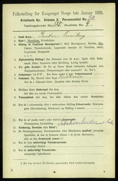 Image from object titled Folketelling 1891 - Kristiania - personsedler - side 105053