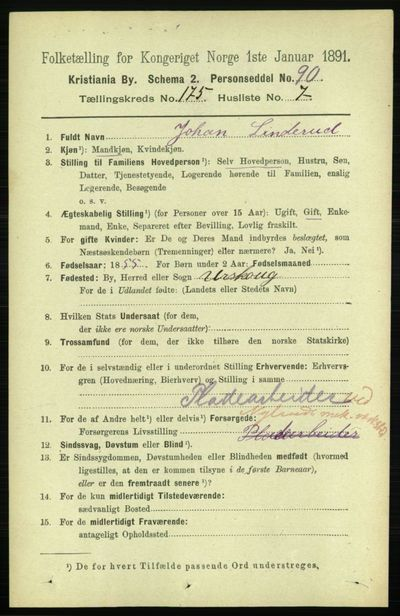 Image from object titled Folketelling 1891 - Kristiania - personsedler - side 105296