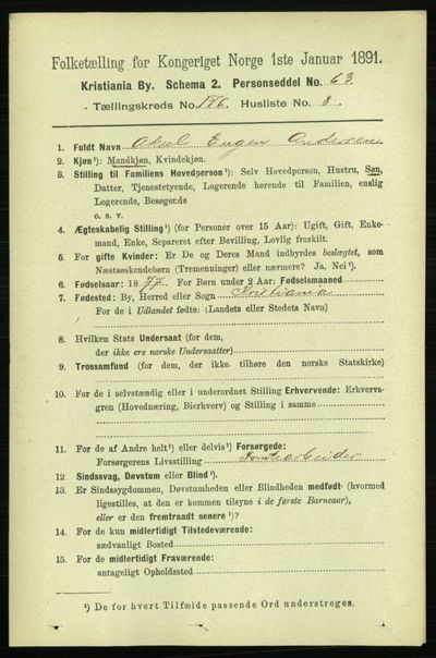 Image from object titled Folketelling 1891 - Kristiania - personsedler - side 105801