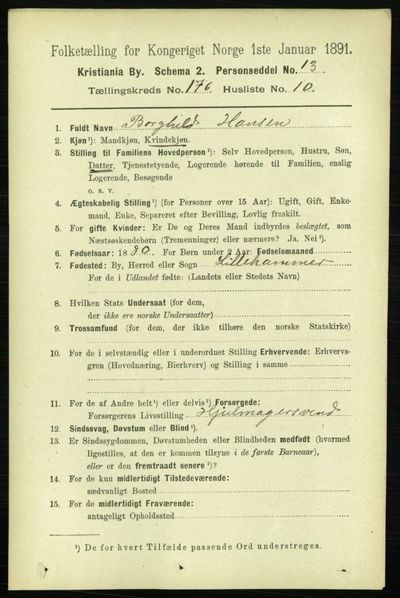 Image from object titled Folketelling 1891 - Kristiania - personsedler - side 105919