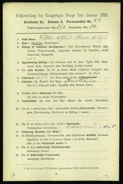Image from object titled Folketelling 1891 - Kristiania - personsedler - side 105961