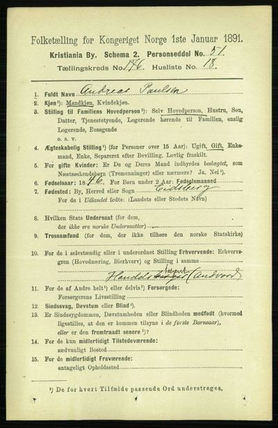 Image from object titled Folketelling 1891 - Kristiania - personsedler - side 106172