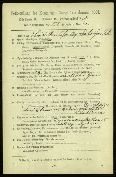 Image from object titled Folketelling 1891 - Kristiania - personsedler - side 106929