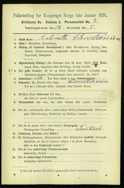 Image from object titled Folketelling 1891 - Kristiania - personsedler - side 107648