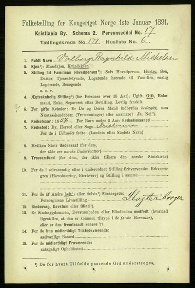 Image from object titled Folketelling 1891 - Kristiania - personsedler - side 107679