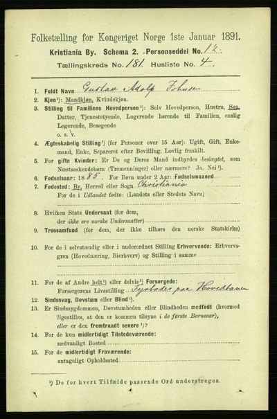 Image from object titled Folketelling 1891 - Kristiania - personsedler - side 108522