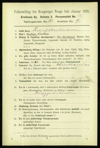 Image from object titled Folketelling 1891 - Kristiania - personsedler - side 108573
