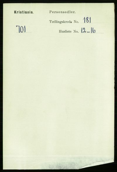 Image from object titled Folketelling 1891 - Kristiania - personsedler - side 108602