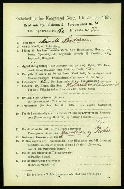 Image from object titled Folketelling 1891 - Kristiania - personsedler - side 109088
