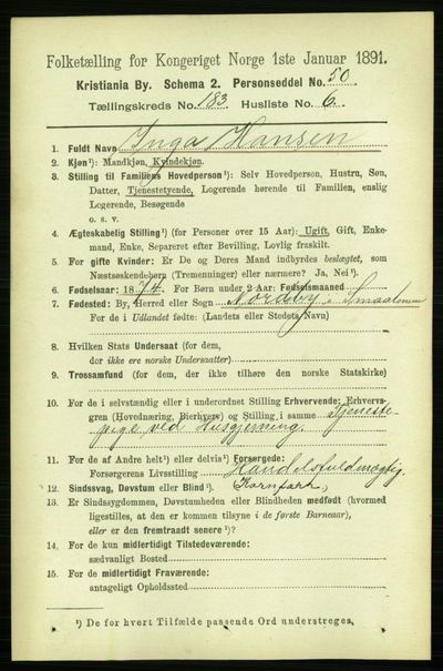 Image from object titled Folketelling 1891 - Kristiania - personsedler - side 109532