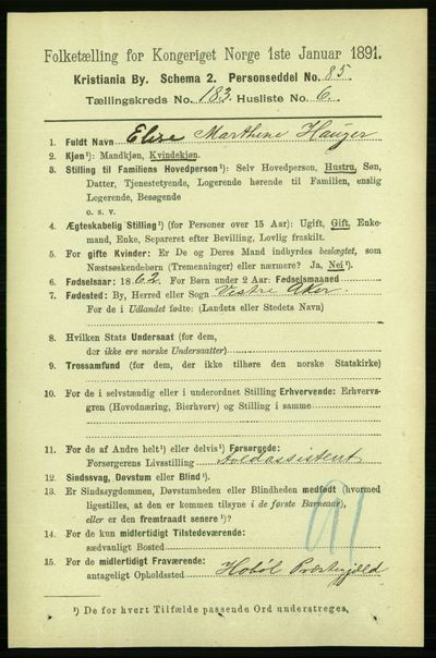 Image from object titled Folketelling 1891 - Kristiania - personsedler - side 109567