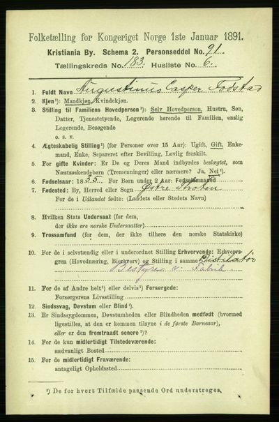 Image from object titled Folketelling 1891 - Kristiania - personsedler - side 109573