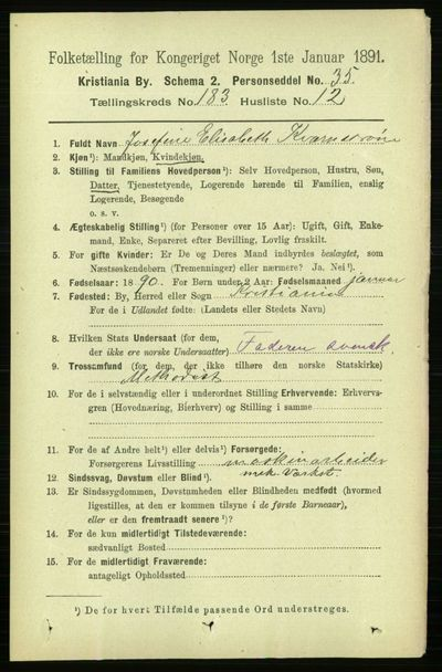 Image from object titled Folketelling 1891 - Kristiania - personsedler - side 109818