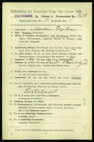 Image from object titled Folketelling 1891 - Kristiania - personsedler - side 110684