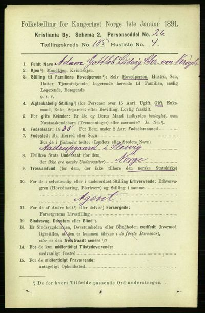 Image from object titled Folketelling 1891 - Kristiania - personsedler - side 110985