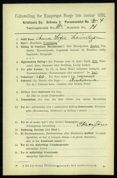 Image from object titled Folketelling 1891 - Kristiania - personsedler - side 111089