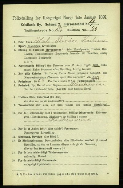 Image from object titled Folketelling 1891 - Kristiania - personsedler - side 111276