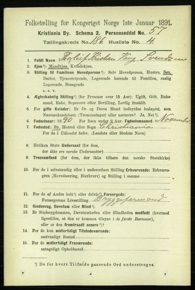 Image from object titled Folketelling 1891 - Kristiania - personsedler - side 111594