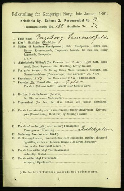 Image from object titled Folketelling 1891 - Kristiania - personsedler - side 112207