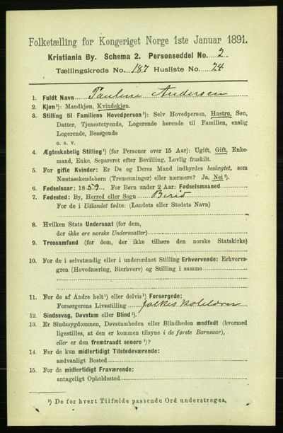 Image from object titled Folketelling 1891 - Kristiania - personsedler - side 112245