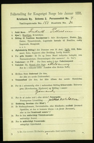 Image from object titled Folketelling 1891 - Kristiania - personsedler - side 112345