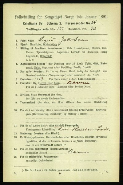 Image from object titled Folketelling 1891 - Kristiania - personsedler - side 112405