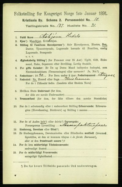 Image from object titled Folketelling 1891 - Kristiania - personsedler - side 112434