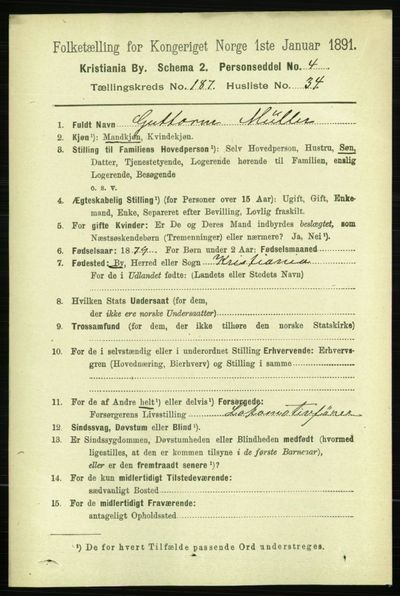Image from object titled Folketelling 1891 - Kristiania - personsedler - side 112505