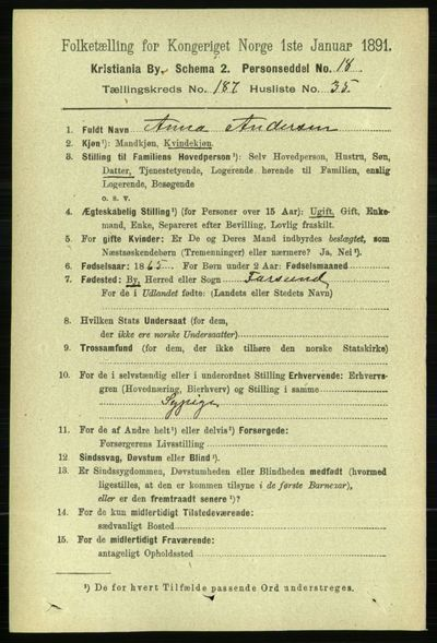 Image from object titled Folketelling 1891 - Kristiania - personsedler - side 112545