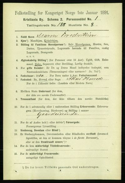 Image from object titled Folketelling 1891 - Kristiania - personsedler - side 112738