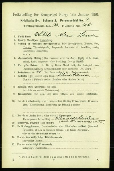 Image from object titled Folketelling 1891 - Kristiania - personsedler - side 112752